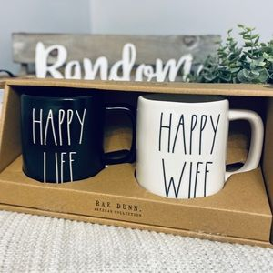 NWT Rae Dunn HAPPY LIFE HAPPY WIFE Mug Set